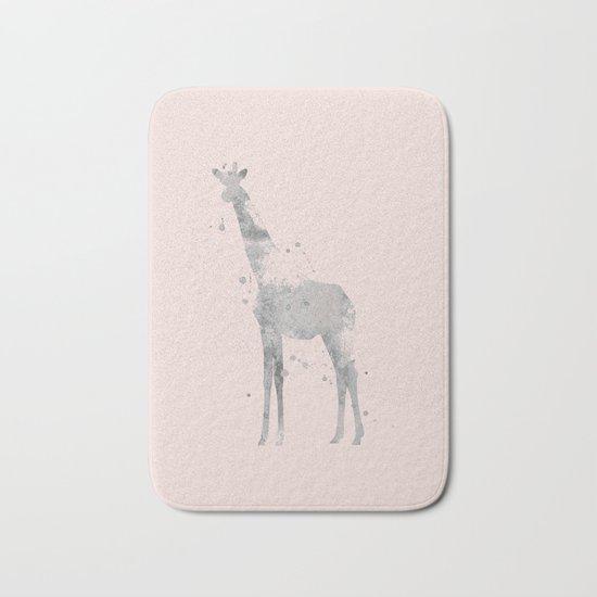 Giraffe in pink Bath Mat