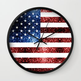 USA flag red blue sparkles glitters Wall Clock