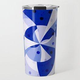 Polka Dots Blue Geometric Design Travel Mug