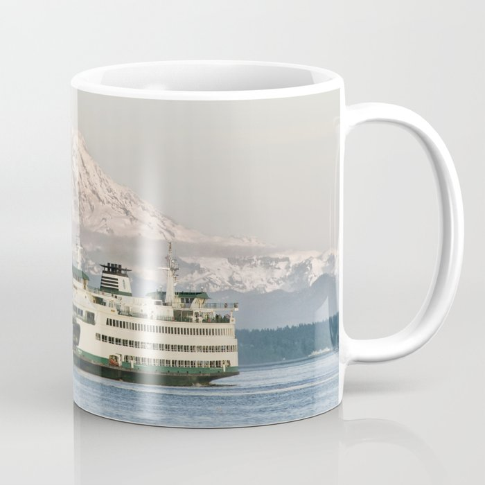 Seattle Bainbridge Island Ferry with Mount Rainier Coffee Mug