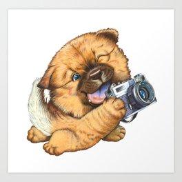 A little dog holding a camera Art Print