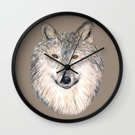 Grey Wolf Wall Clock