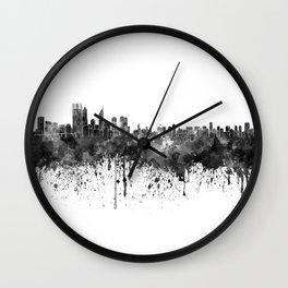 Perth skyline in black watercolor Wall Clock