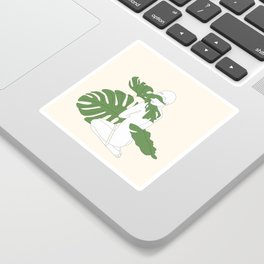 Woman with Monstera Leaves Sticker