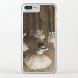 Ballet Rehearsal on Stage by Edgar Degas Clear iPhone Case