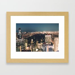 central park at night Framed Art Print