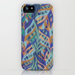 Tropical palms, blue green pattern iPhone Case