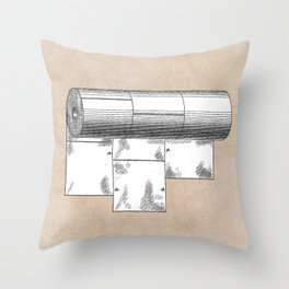 patent art Wheeler Wrapping of toilet paper 1894 Throw Pillow