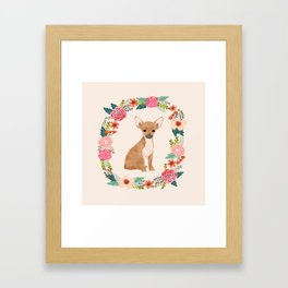 chihuahua floral wreath flowers dog breed gifts Framed Art Print