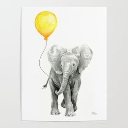Elephant Watercolor Yellow Balloon Whimsical Baby Animals Poster