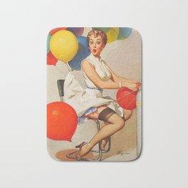 Vintage Pin Up Girl and Colorful Balloons Bath Mat