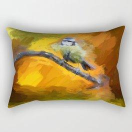 Tit Bird Abstract Painting Rectangular Pillow