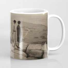 Looking across the Sahara Desert from the top of the Pyramid of Cheops, Egypt at sunset black and white photograph Coffee Mug