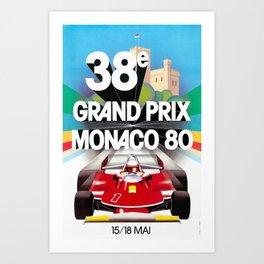 Monaco Gran Prix 38e 1980 Vintage Poster, Artwork for Wall Art, Prints, Poster, Tshirts, Men, Women, Kids Art Print
