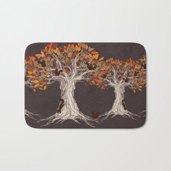 Little Visitors - Autumn tree illustration with squirrels Bath Mat