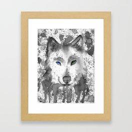 black and white : wolf Framed Art Print