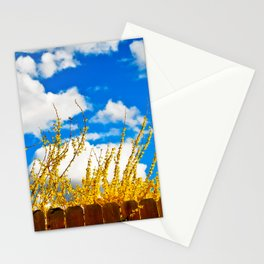 clouds+blue+yellow+fence Stationery Cards