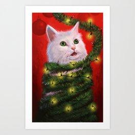 Tinsel Cat Art Print