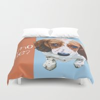 font Duvet Covers featuring Who Me - White Font by Canis Picta