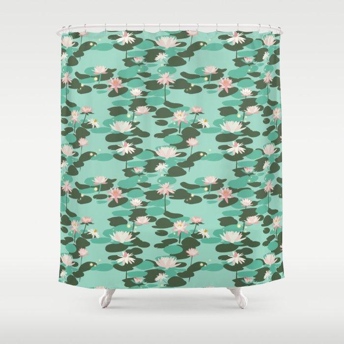 Waterlily Pattern In Mint Shower Curtain
