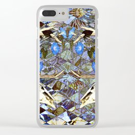 Diamond Pattern Deer Skull And Morning Glory Clear iPhone Case