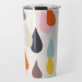 Raindrops on Beige Travel Mug