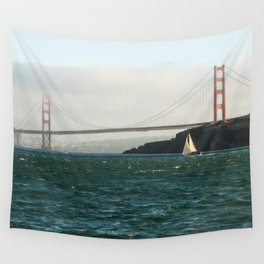 Sailing Under the Golden Gate Bridge Photography Print Wall Tapestry