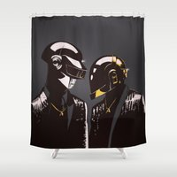 daft punk Shower Curtains featuring DAFT PUNK by Gregory Casares