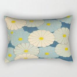Shin-Bijutsukai – Japanese Design Blue Floral Pattern Rectangular Pillow