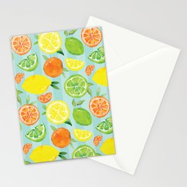 Zesty Citrus Pattern Stationery Cards