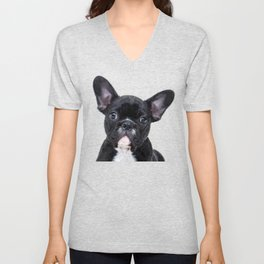 French bulldog portrait Unisex V-Neck