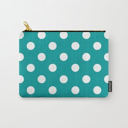 POLKA DOT DESIGN (WHITE-TEAL) Carry-All Pouch