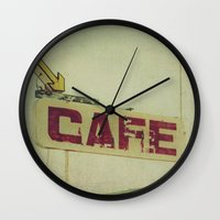 cafe Wall Clocks featuring Cafe by Honey Malek