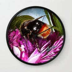 Bee on flower 9 Wall Clock