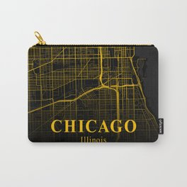 Chicago Illinois City Map | Gold America City Street Map | United States Cities Maps Carry-All Pouch
