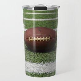 American Football Court with ball on Gras Travel Mug