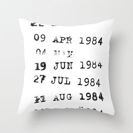 1984 Library Due Dates Throw Pillow