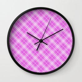 Popping Lilac Valentine Sweetheart Tartan Plaid Check Wall Clock