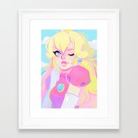 peach Framed Art Prints featuring peach by flowersilk