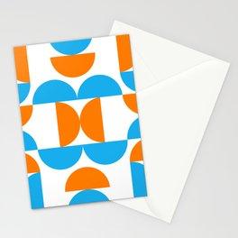 Mid centruy modern abstract pattrn - orange - blue Stationery Cards