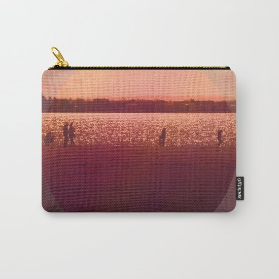 Vintage Coral Sunset, Winter Beach Carry-All Pouch