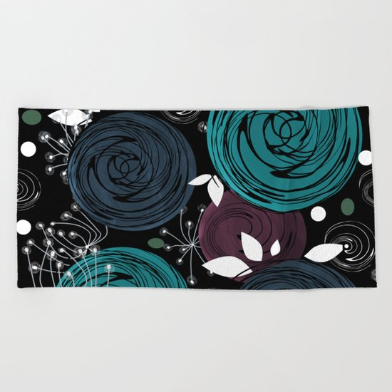 Abstract flowers on a black background . Beach Towel