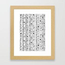 Into the Woods black on white Framed Art Print