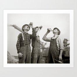 Farmers Drinking Beer, 1941. Vintage Photo Art Print