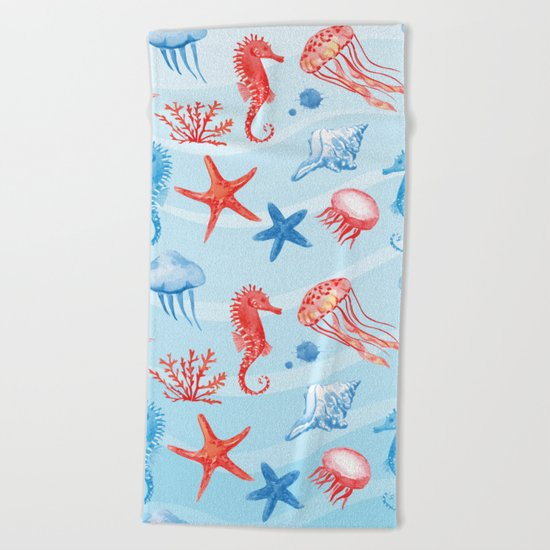 Marine Pattern 09 Beach Towel