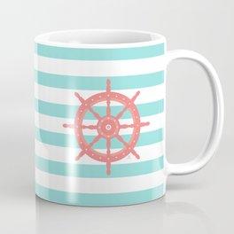 AFE Nautical Wheel  Coral & Seafoam Coffee Mug