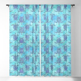 Watercolor Sea Turtles Mandalas Pattern Sheer Curtain