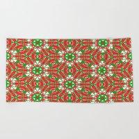 Red, Green and White Kaleidoscope 3376 Beach Towel