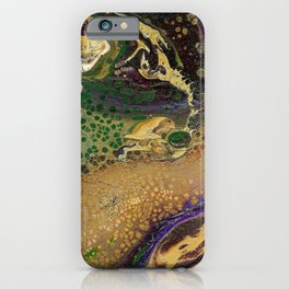 Fluid Gold XII - Abstract, textured, fluid, acrylic painting iPhone Case