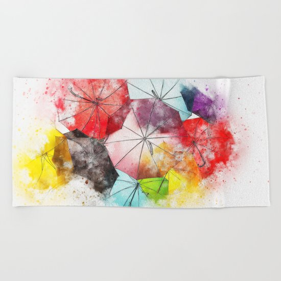 Umbrella Watercolor Beach Towel